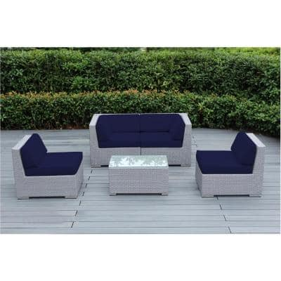 Gray 5-Piece Wicker Patio Seating Set with Sunbrella Navy Cushions