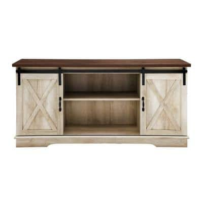 58 in. White Oak Composite TV Stand 64 in. with Doors