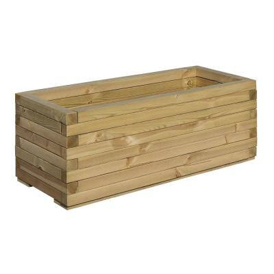 English Garden 37 in. x 16 in. Timber Rectangular Wood Planter