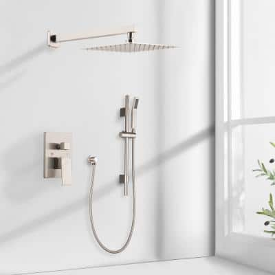 1- -Spray Patterns with 2.5 GPM 12 in. Wall Mount Dual Shower Heads in Brushed Nickel