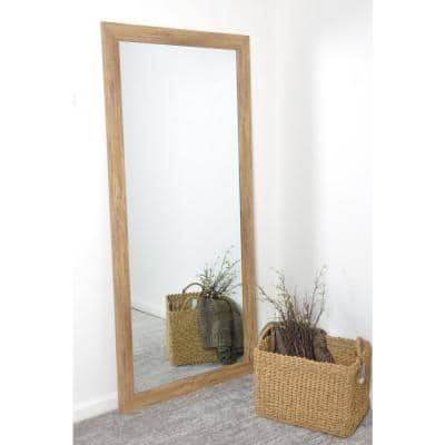 Medium Light Brown Composite Hooks Farmhouse Rustic Mirror (32 in. H X 66 in. W)