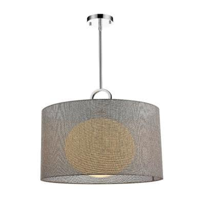 1-Light Chrome Pendant with Gray Fabric Shade