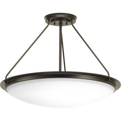 Apogee 27 in. 62.7-Watt Architectural Bronze Integrated LED Semi-Flush Mount