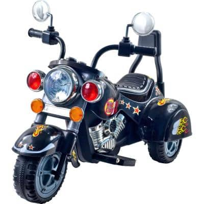 3-Wheel Battery Powered Ride on Toy Motorcycle Chopper in Black