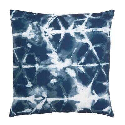 Maven Navy/White Square Outdoor Throw Pillow