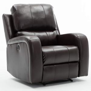 Brown Leather Power Recliner Chair with USB Charge Port for Bedroom and Living Room