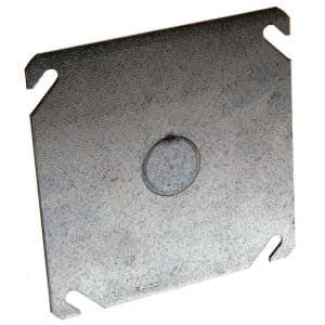 4 in. Flat Square Cover with 1/2 in Center KO