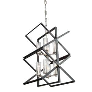 Vissini 8-Light Matte Black and Polished Nickel Cage Chandelier with Glass Shades