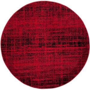 Adirondack Red/Black 4 ft. x 4 ft. Round Area Rug