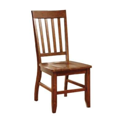 Walnut Brown Wooden Side Chair with Slatted Back (Set of 2)