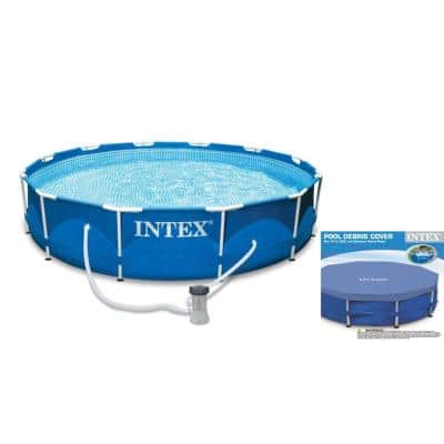 10 ft. Round 30 in. D Metal Frame Swimming Pool Set with Filter Pump Plus Debris Cover