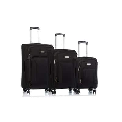 CHAMPS Traveler's 29 in.,25 in., 20 in. Blac Softside Luggage Set with Spinner Wheels (3-Piece)
