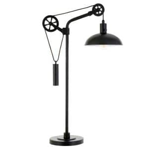 Neo 33.5 in. Blackened Bronze Table Lampwith Spoke Wheel Pulley System