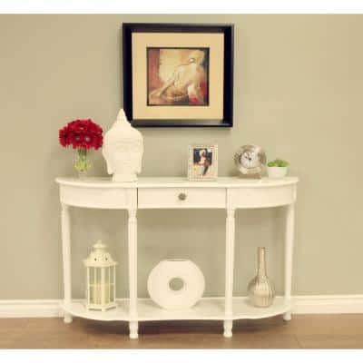 48 in. White Standard Half Moon Wood Console Table with Drawers