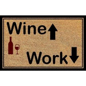 Outdoor Mat Wine & Work 18''X30'' Durable Coir
