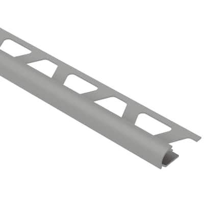 Rondec Metallic Grey 1/2 in. x 8 ft. 2-1/2 in. Color-Coated Aluminum Bullnose Tile Edging Trim
