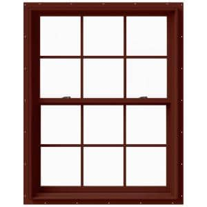 37.375 in. x 48 in. W-2500 Series Red Painted Clad Wood Double Hung Window w/ Natural Interior and Screen