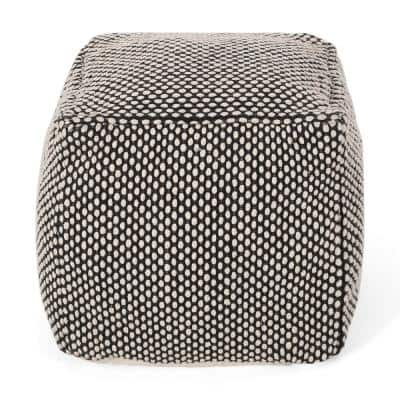 Andriana Black and Natural Fabric Cube Pouf