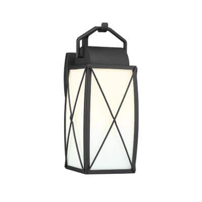 Fairlington 7.5 in. 1-Light Black Outdoor Wall Lantern Sconce with Etched White Glass Shade