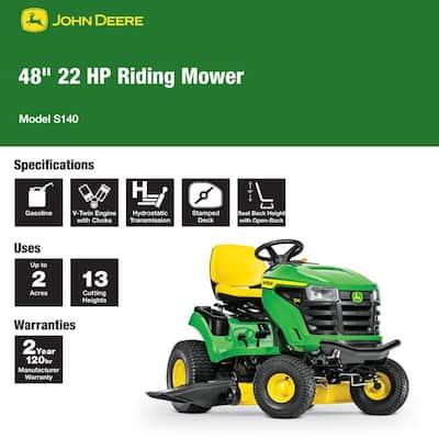 S140 48 in. 22 HP V-Twin Gas Hydrostatic Lawn Tractor-California Compliant