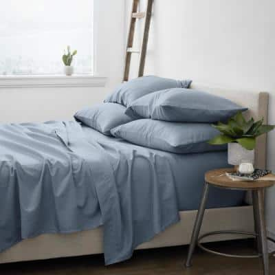 6-Piece Solid Stone Twin Bed Sheet Set