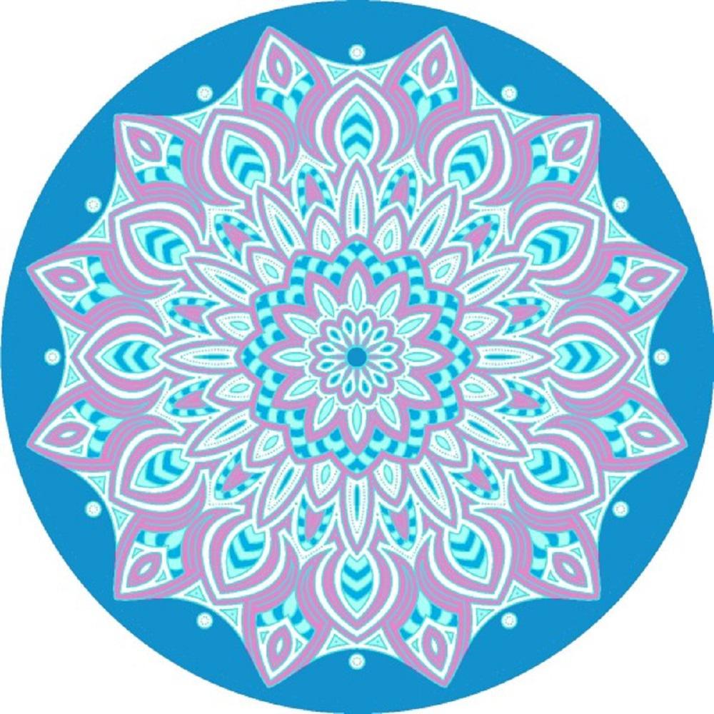 Round Mandala/Multicolored Floral Cotton Single Beach Towel