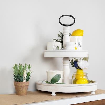 2-Tier White Wash Decorative Stand