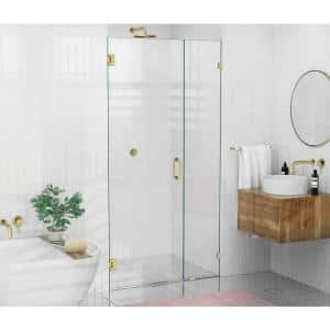 42 in. x 78 in. Frameless Pivot Wall Hinged Shower Door in Satin Brass