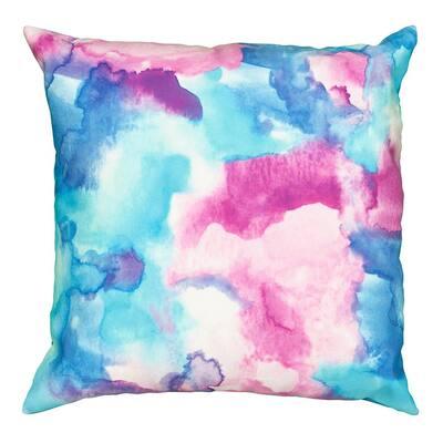 Mod Watercolor Multi Color 18 in. x 18 in. Indoor/Outdoor Throw Pillow