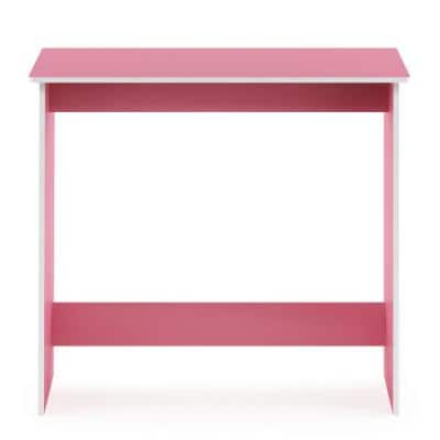 32 in. Rectangular Light Pink Computer Desk with Solid Wood Material