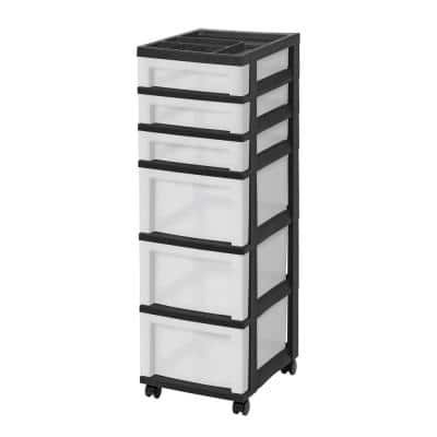 14.25 in. D x 12.05 in. W x 37.75 in. H 6-Drawer Storage Cart with Organizer Top in Black and Pearl