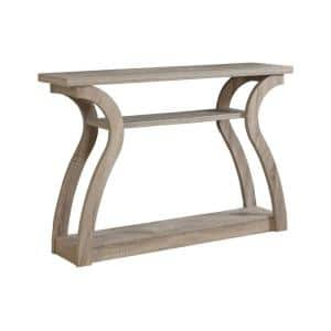 Jasmine 48 in. Dark Taupe Standard Rectangle Wood Console Table with Shelves