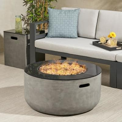 Adio 16 in. x 20 in. Round Concrete Propane Fire Pit in Light Grey with Tank Holder
