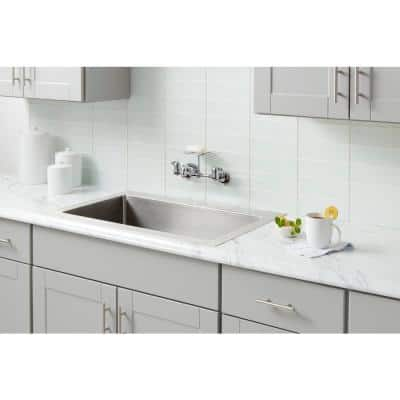 2-Handle Wall-Mount Kitchen Faucet with Soap Dish in Chrome