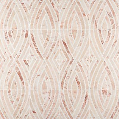 Krista Watterworth Westgate Leaf Pink 11.73 in. x 11.73 in. Polished Marble Mosaic Tile (0.95 sq. ft./Each)