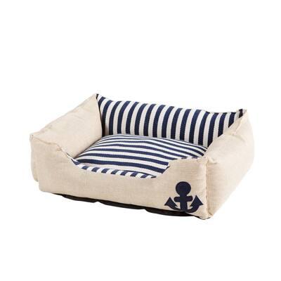 Everly Medium Blue Stripe Design Canvas and Linen Pet Bed