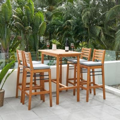 Gloucester 5-Piece Wood Rectangular Bar Height Outdoor Dining Set with Light Grey Cushions