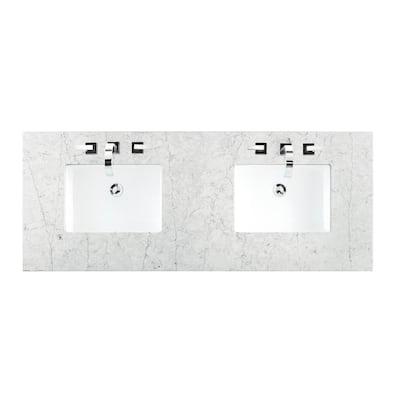 60 in. Silestone Quartz Double Basin Vanity Top in Jasmine Pearl