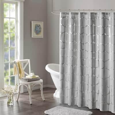 Khloe 72 in. x 72 in. Grey/Silver Microfiber Printed Metallic Shower Curtain