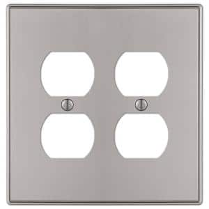 Ansley 2 Gang Duplex Metal Wall Plate - Brushed Nickel