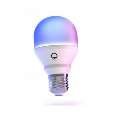 60-Watt Equivalent, A19 Multi-Color Dimmable WiFi Connected LED Smart Light Bulb, 1 Bulb