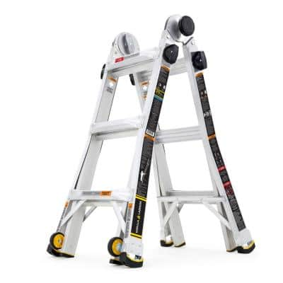 14 ft. Reach MPXW Aluminum Multi-Position Ladder with Wheels, 375 lbs. Load Capacity Type IAA Duty Rating