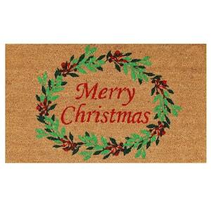 Christmas Wreath 17 in. x 29 in. Coir Door Mat