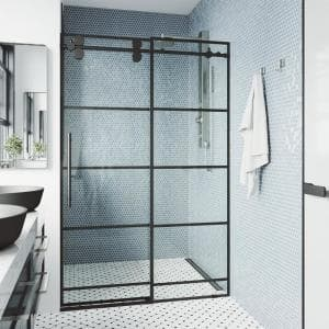 Elan 56 to 60 in. W x 74 in. H Sliding Frameless Shower Door in Matte Black with Clear Glass and Black Grid Design