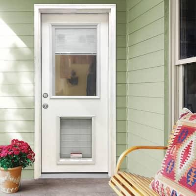 32 in. x 80 in. Classic Clear Mini-Blind RHIS White Primed Fiberglass Prehung Front Door with SL Pet Door