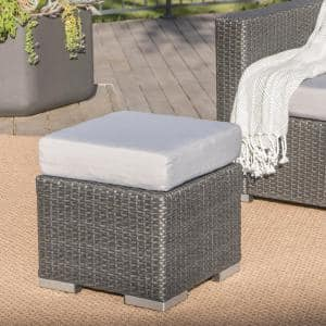 Gray Wicker Outdoor Ottoman with Silver Cushion