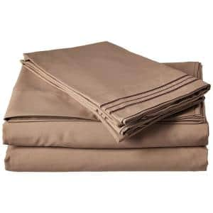 4-Piece Taupe Solid Microfiber California King Sheet Set