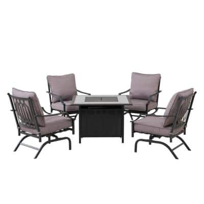 Linfield Black 5-Piece Aluminum Patio Firepit Chat Set with Gray Back Pillows and Seat Cushions