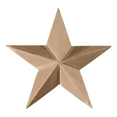 5 in. x 3/4 in. x 5 in. Unfinished Wood Cherry Galveston Star Rosette