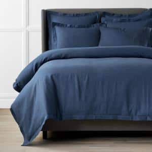 Solid Washed Blue Linen Twin Duvet Cover